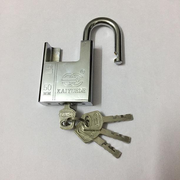 50mm Half A Pack Of Beam White Steel Padlock Chain Anti-Theft Lock Leffe Jingang Leaf Door And Window Anti-Theft Straight Padloc