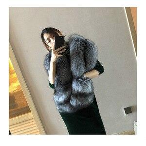 Image 2 - MS. minShu Vos Bont Sjaal Luxe Grote Vos Huid Sjaal Natuurlijke Fox Fur Stola Echte Fox Fur Shawl Pocket Mode Avond jurk