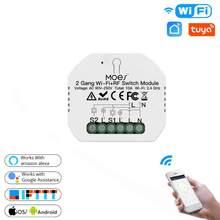 Wi-Fi 2 Gang 2 Way Беспроводной дистанционный умный светильник переключатель Управление; Модуль Поддержка приложение Smart Life Tuya приложение Google Home ...