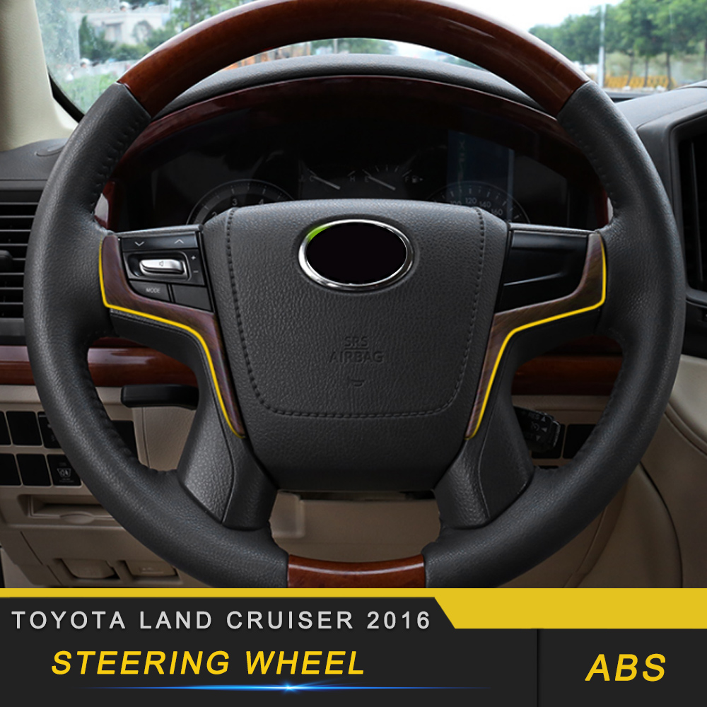 For Toyota Land Cruiser 200 2016-2018 Car Styling Steering Wheel Panel Cover Frame Trim Sticker Interior Accessories