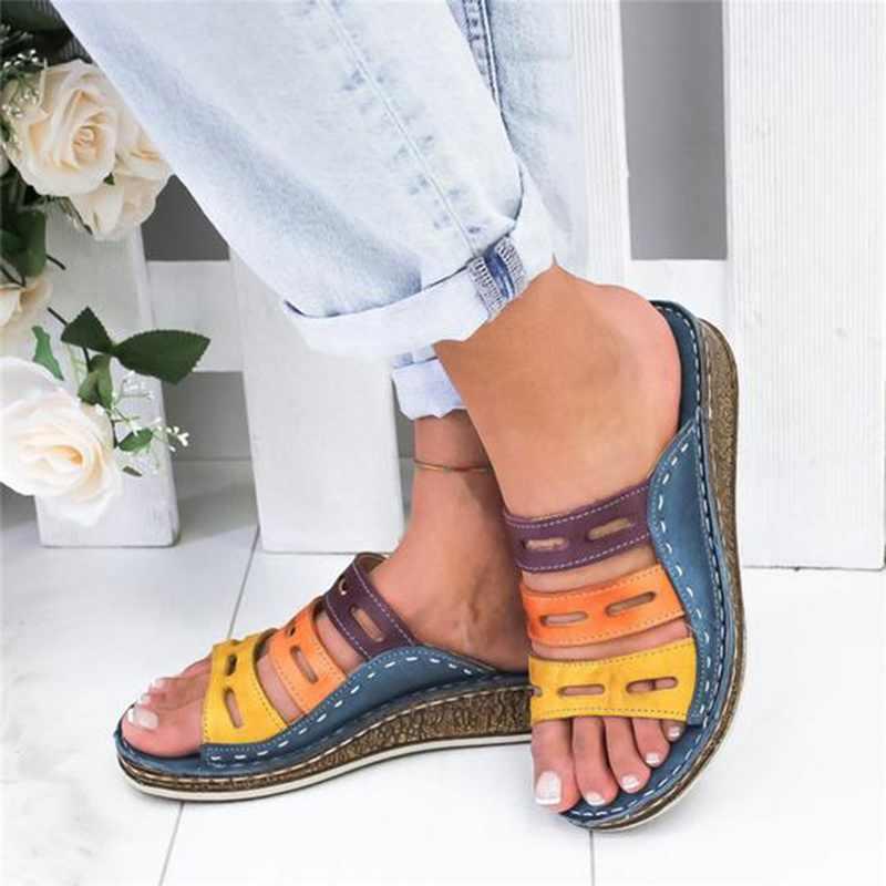 MoneRffi Dropshipping Phụ Nữ Mùa Hè Sandals Khâu Giày Sandal Nữ Hở Mũi Giày Đế Nêm Trượt Bãi Biển Giày