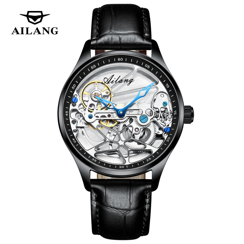 AILANG Transparent Steampunk Montre Homme Black Retro Casual Mens Watches Top Brand Luxury Full Steel Skeleton Mechanical Watch
