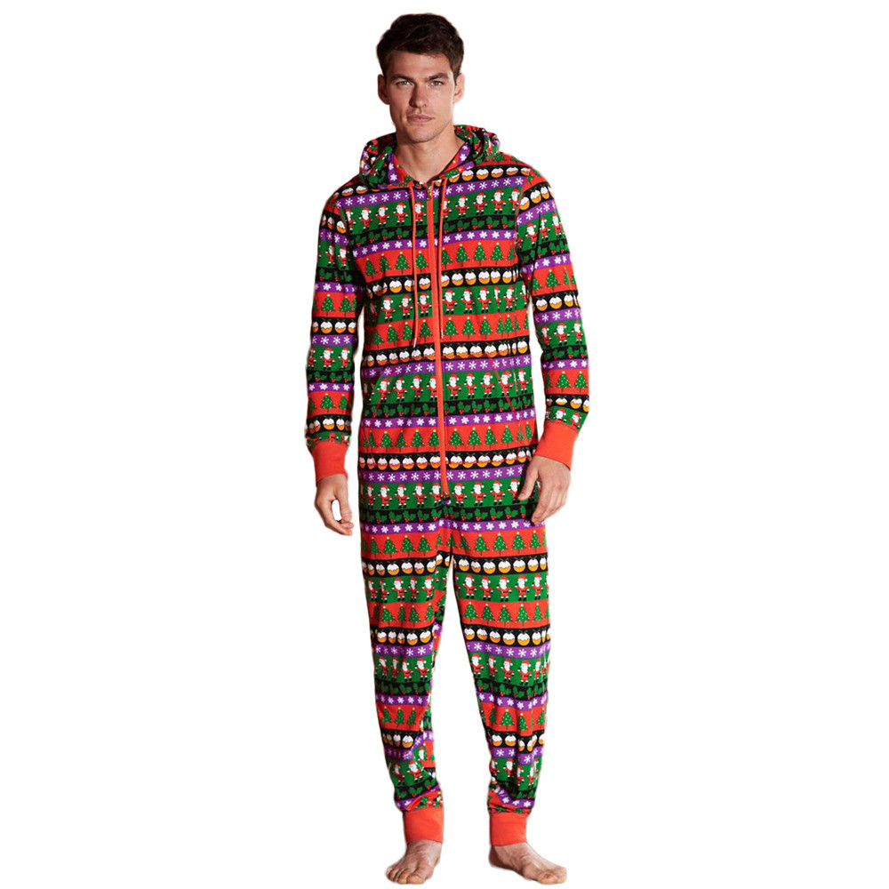 Onesie Pijama Men Christmas Hooded Pajamas Sleepwear Nightwear Jumpsuit D91116