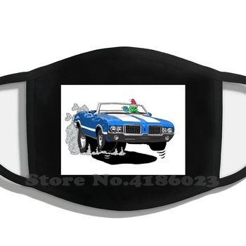 Oldsmobile Cutlass Design Black Breathable Reusable Mouth Mask Gm Gmc Oldsmobile Cutlass Street Rod Blue Curts Kartoons image