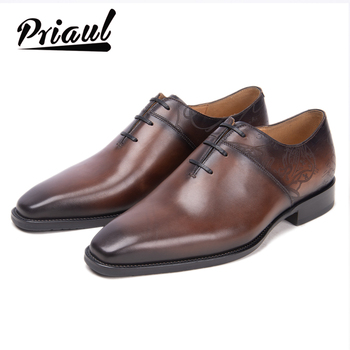 Leather Shoes Men Formal Oxford Genuine Leather Vintage Retro Fashion Wedding Office Brand Luxury Party Mens Casual Shoe