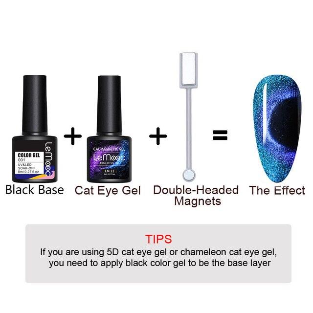 Lemooc olho de gato unha gel polonês 9d laser ímã vernizes embeber uv led shimmer lacas magnéticas brilhante beleza design polidores 2
