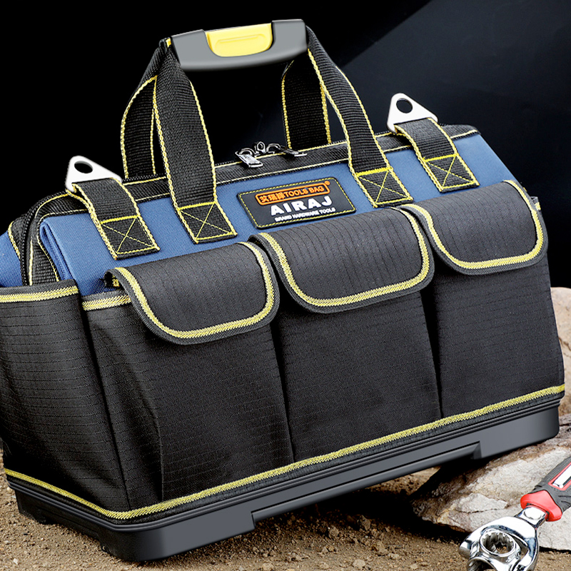 AIRAJ Multi-function Tool Bag 1680D Oxford Cloth Electrician Bag, Multi-pocket Waterproof Anti-fall Storage Bag
