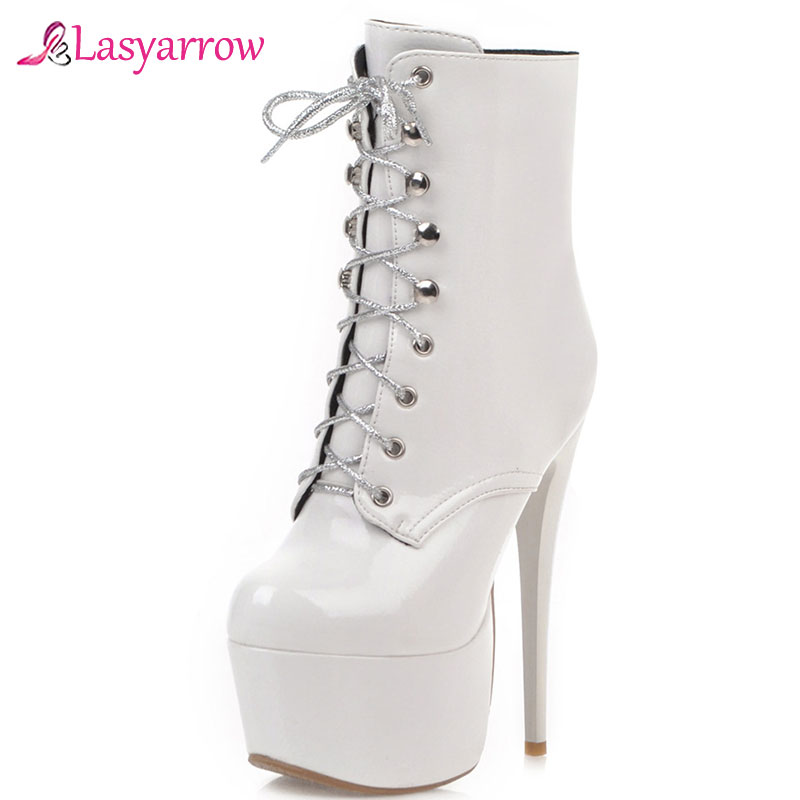 Lasyarrow 16cm Heel Extreme High Heel Patent Ankle Boots Lace Up Sexy Fetish Pole Dance Platform Boots Ladies Party Shoes Woman