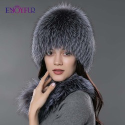 Women fur hat scarf set for winter natural  fox fur scarf and hat solid color new fashion street shoot hat and scarf