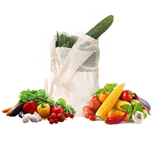 Reusable Cotton Mesh Fruit Bag Organic String Grocery Canvas Shoulder Bag Mixed Mesh Totes Vegetable Storage Net Shopping Bag