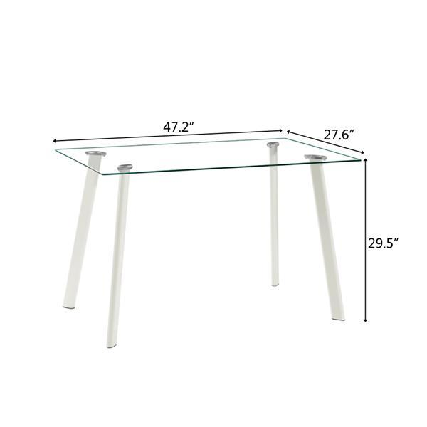 White Glass Dining Table Set w/ 4 Chairs  4