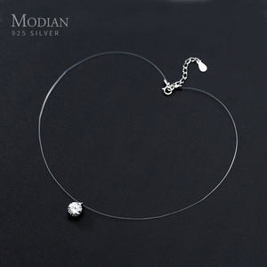 Modian Simple Round Clear CZ Pendant Choker Necklace for Women Classc Charm 925 Sterling Silver Geometric Design Party Jewelry