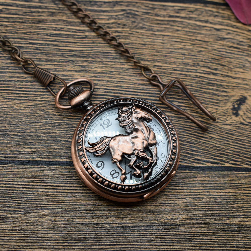 Pocket & Fob Watches Copper RunningHorses Pattern Quartz Pocket Watches Necklace  Women/Mens Pocket Watch with Belt Chain