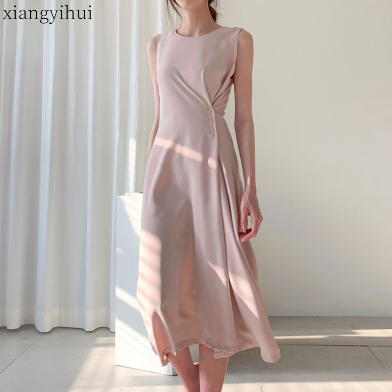 Chic Women Pink Elegant Tank Dresses Female Summer Sleeveless Midi Dress 2020 New Button Design Black A-line High Waist Vestido