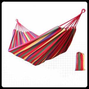 Image 1 - Canvas Double Hammock Cotton 2 People Hamac Widen Garden Swing Sleeping Hamak Rede De Dormir 200*150cm Furniture Hamaca