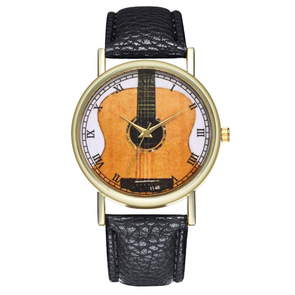 GENBOLI Unique Women Watch Leather Strap Guitar Pattern Wristwatch Strap Analog Quartz Dial Luxury For  Men Women Clearance