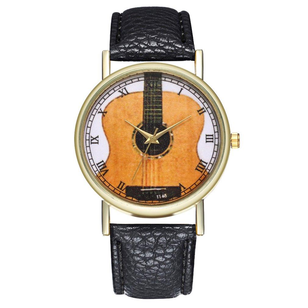 GENBOLI Unique Women Watch Leather Strap Guitar Pattern Wristwatch Strap Analog Quartz Dial Luxury For  Men Women Clearance