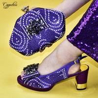 High class purple high heel shoes matching with handbag set for party 688 13 Heel Height 7.5CM