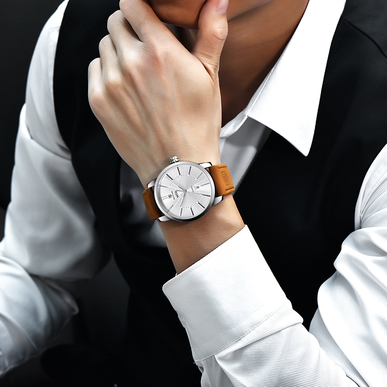 Image 4 - Relogio Masculino BENYAR Luxury Brand  Analog Display Date Mens Quartz Watch 30M Waterproof Genuine Leather Strap Casual Watchclock ipodwatch reportclock rugby -