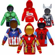 Thor Boys Superheroes Party Costume Cool Baby Hulk Spider Man Hoodie Cars Print Jackets Toddler Captain America Sport Coats