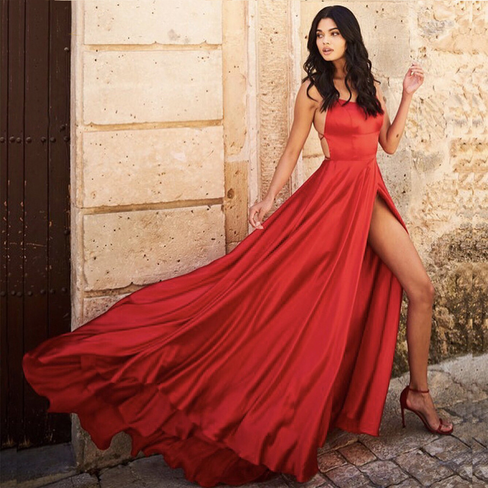 Sexy Prom Dresses Long Style A Line  Sexy Split Silk Satin Red Green White Elegant Formal Evening Gowns New Fashion 2020 Hot