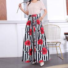 Summer Skirt Womens Jupe Longue High Waist Pockets Long Skirt Vintage Floral Striped Print Maxi Skirt  Empire Plus size Chic 3XL