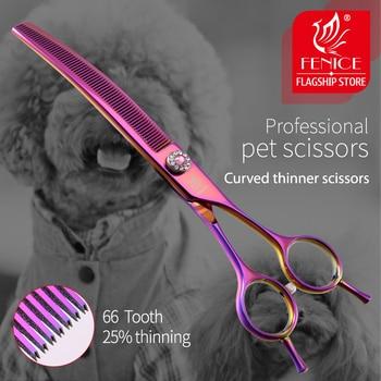 Fenice-tijeras de peluquería profesionales de alta gama, de 7,0 pulgadas, Canina curvada,...