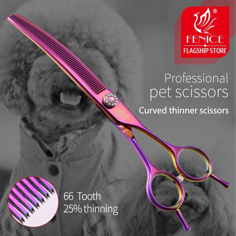 Fenice high-end 7.0 polegada profissional cão grooming tesouras de desbaste curvo para cães e gatos cabelo animal tijeras tesura