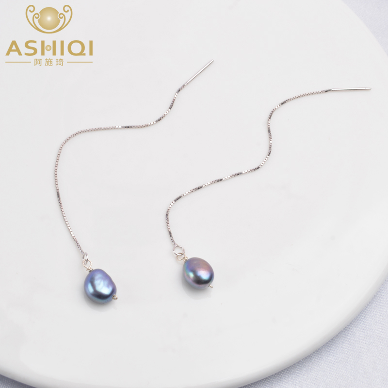 ASHIQI 925 Sterling Silver Natural Freshwater Pearl Pendant Long Chain Earring For Women Bohemian Jewelry