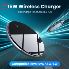 DIVI Wireless Charger For iPhone 11 X XS Max XR 8 15W Max Mirror Wireless Charging Pad For Samsung S9 S10 With USB Type C Cable