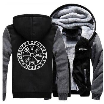 Odin Vikings Jackets Men Son Of Odin Sweatshirts Valhalla Hoodies Winter Thick Zipper Fleece Coats Sportswear Outwear Plus Size 1