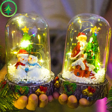 1pcs Christmas resin ornaments Santa snowman creative lights pendant Xmas Table decorations new year kids gift