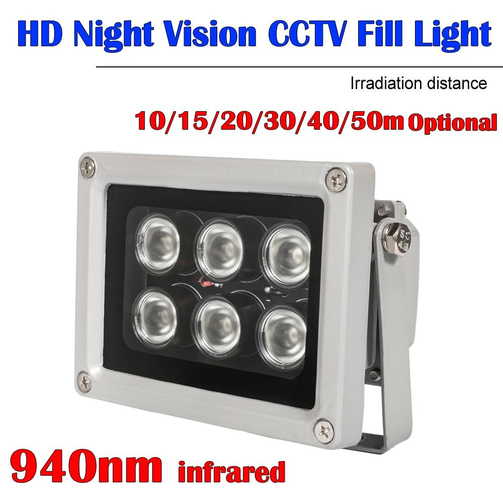 Невидимый 50 м ИК-осветитель светильник 940nm 6 Массив светодиодов инфракрасного Водонепроницаемый Ночное видение для CCTV Камера 90-60-45-30-15-9degree