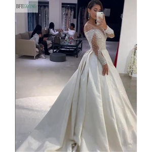 Image 2 - Ivory Satin Beading Crystal Long Sleeves Scoop  Floor Length A line Wedding dress Chapel Train Custom made