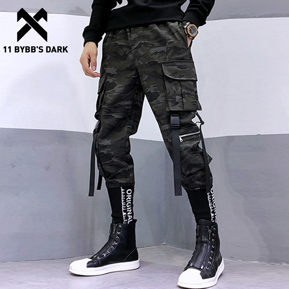 11 BYBB'S DARK Hip Hop Slim Men Joggers 2020 Encrypted Embroidered Rib Ribbons Camouflage Casual Streetwear Men Joggers Trousers