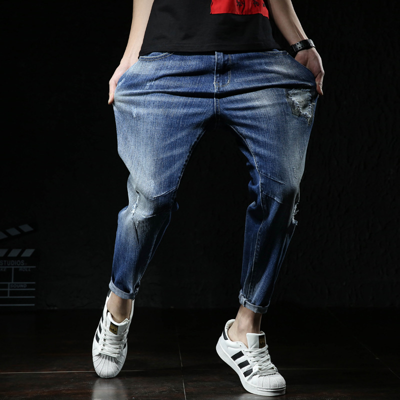 2019 Spring New Style Jeans Men's Loose-Fit With Holes Harem Pants Medium Waist Washing Large Size Capri Pants JH502
