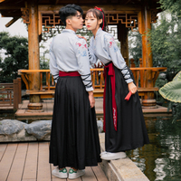 Unisex Traditional Chinese Hanfu Clothes Qing Tang Suit Ancient Festival Performance Costumes Female Folk Dance Costume DL4184
