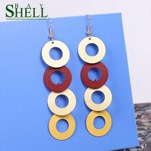 Shell Bay Fashion Multi Round Drop Earrings Jewelry Boho Black long Earrings For Women Punk Pendientes Earrings Cute Girls CC