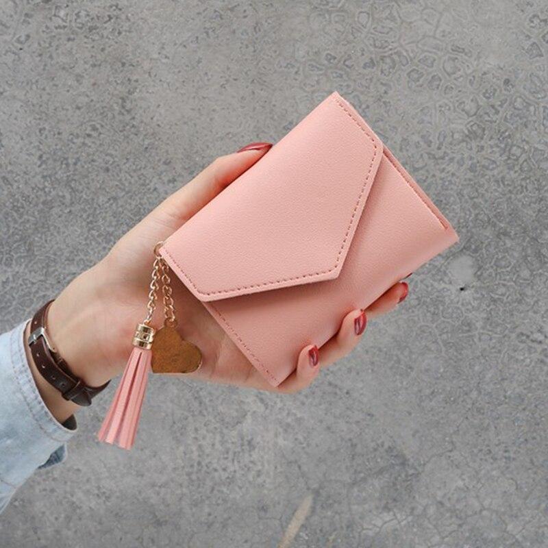 Новинка, маленький кошелек для денег, Женский Повседневный однотонный кошелек, Модный женский короткий Мини Универсальный корейский студенческий маленький кошелек - Цвет: New-Pink
