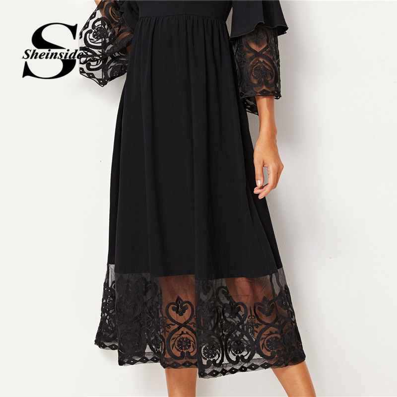 Image 4 - Sheinside Elegant Embroidered Mesh Pleated Dress Women 2019 Autumn 3/4 Sleeve Midi Dresses Ladies Layered Flounce Sleeve Dress-in Dresses from Women's Clothing