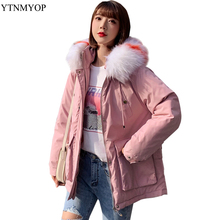 YTNMYOP Warm Winter Coat Women Loose Casual Thick Parkas Female Jacket Colorful Fur Collar Fashion Wadded Jackets And Coats