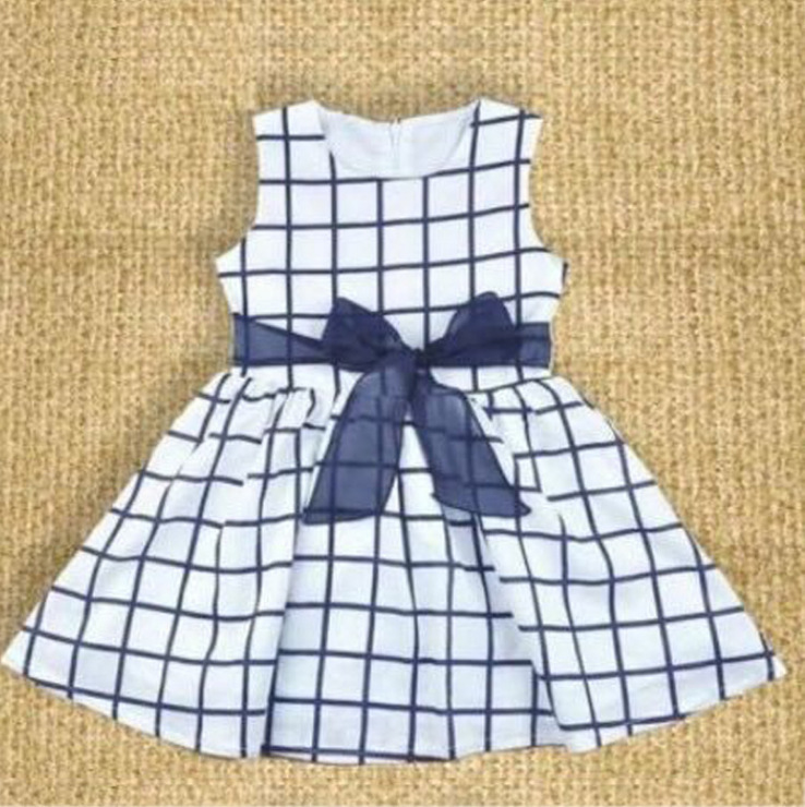 Children Blue Plaid Dress Bow baby Princess Kids Dresses for Girls O-neck Casual Clothes toddler costume summer cheap stuff