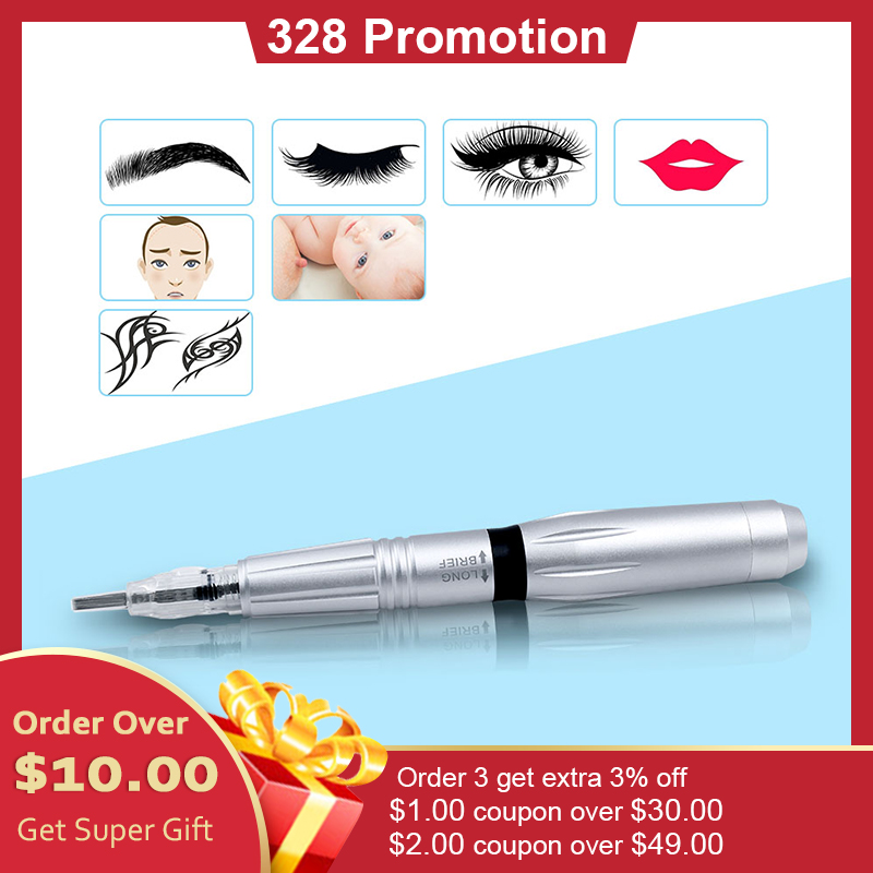 THUNDERLORD Permanent Makeup Machine Rotary Tattoo Pen Microneedling Cartridge Needles For Eyebrow Lip Eye Liner Tattoos Kit
