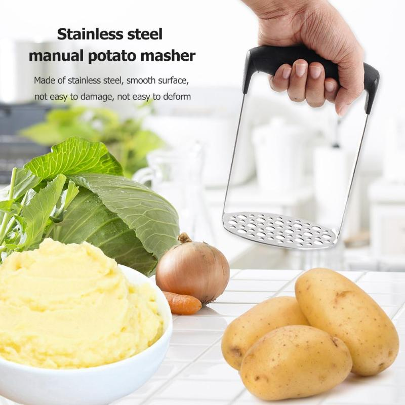 Manual Potato Mud Masher Stainless Steel Pressure Mud Puree Vegetable Fruit Press Maker Garlic Presser Kitchen Accessory