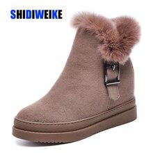 حذاء الثلوج النسائية جلد طبيعي الإناث حذاء من الجلد 2019 الشتاء مشبك الموضة امرأة حذاء الثلوج s حذاء نسائي بكعب عالٍ أحذية الشتاء