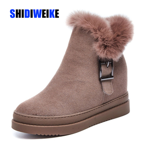Image 1 - Womens Snow Boot Genuine Leather Female Ankle Boots 2019 Winter Fashion Buckle Woman Snow Boots Women High Heels Winter Shoes