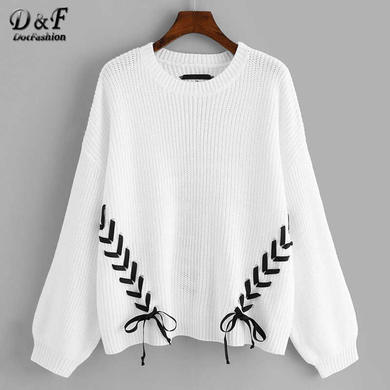 Dotfashion Plus Size Criss-cross Lace Up Detail Lantern Sleeve Sweater Women 2019 Autumn Long Sleeve Sweaters Ladies White Top