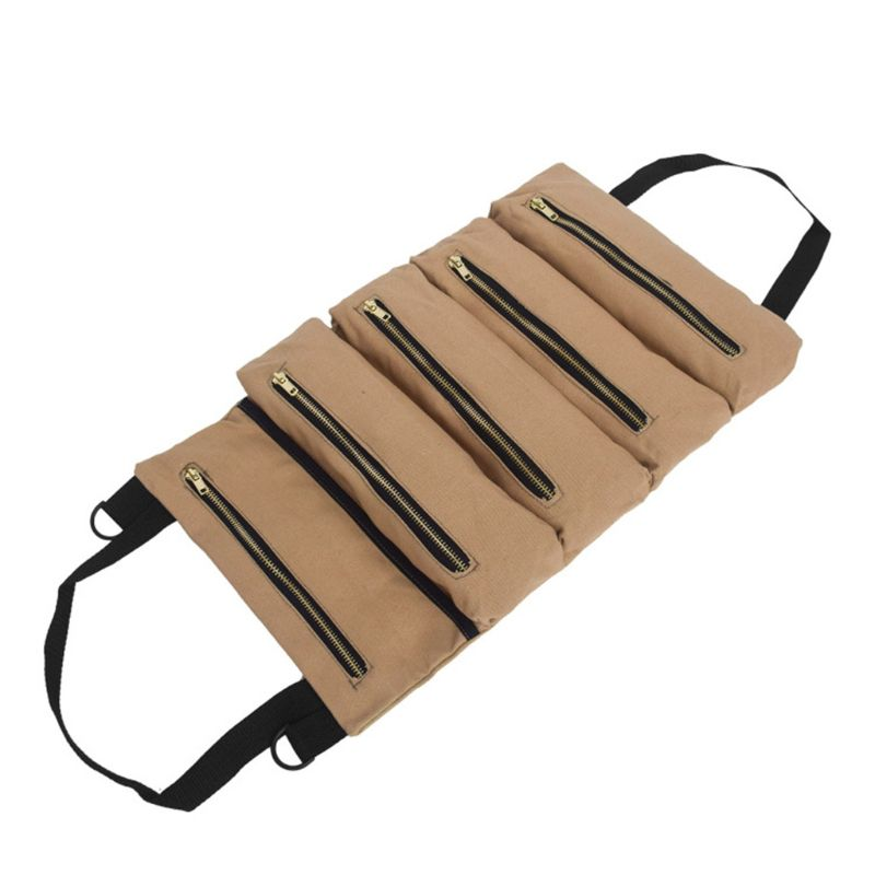 Canvas Tool Roll Wrench Pouch Vehicle Tool Bag Hanging Tool Zipper Carrier Tote 83XA
