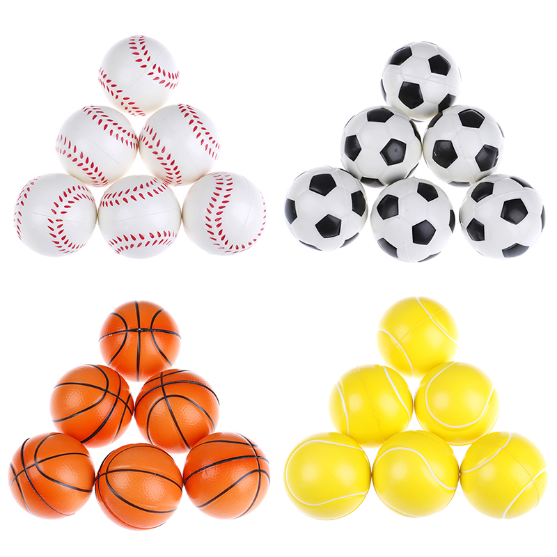 6PCS Children Toy Anti Stress Ball Relief Soccer Football Basketball Baseball Tennis Soft Foam Rubber Squeeze Ball Toys