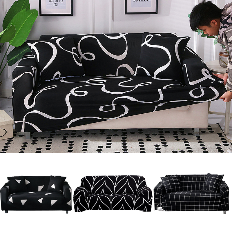 black printed sofa covers spandex for living room couch cover corner sofa cover L shape elastic